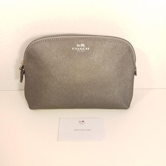 Coach Handbags - Coach Silver Crosshatch Cosmetics Case Clutch